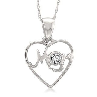 Montebello Jewelry 14k White Gold 1/10ct TDW White Diamond Mother's Heart Pendant Necklace (I-J, I2-I3)