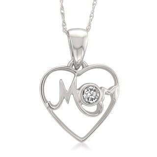 Montebello Jewelry 14k White Gold 1/10ct TDW White Diamond Mother's Heart Pendant Necklace