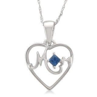 Montebello Jewelry 14k White Gold 1/10ct TGW Blue Sapphire Mother Heart Pendant Necklace