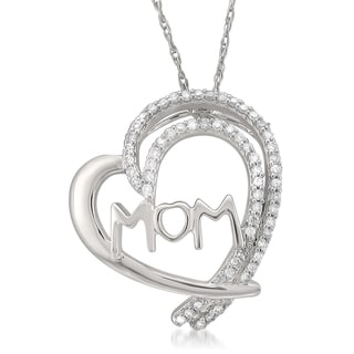 Montebello Jewelry 14k White Gold 1/6ct TDW White Diamond Mother's Heart Pendant Necklace (I-J, I2-I3)