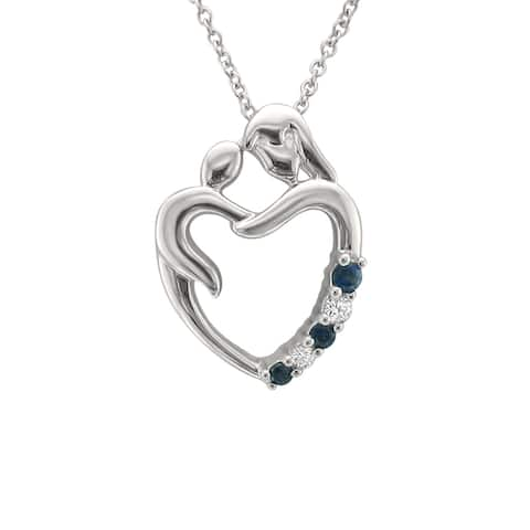 Montebello 14KT White Gold 1/8ct Gemstone and Diamond Pendant - Blue