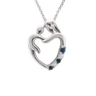 Montebello Jewelry 14k White Gold 1/8ct Blue Sapphire and Diamond Accent Mother Heart Pendant Neckla|https://ak1.ostkcdn.com/images/products/11771691/P18684367.jpg?impolicy=medium
