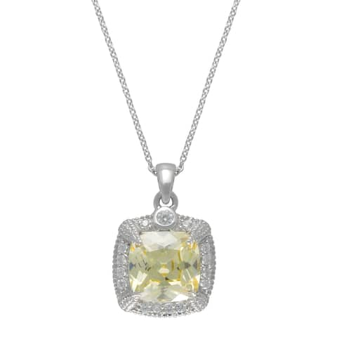 """SIRI Sterling Silver Canary & White Cubic Zirconia Pendant 18"""""""