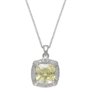 SIRI USA Sterling Silver Canary Yellow and White Cubic Zirconia Pendant|https://ak1.ostkcdn.com/images/products/11771742/P18684372.jpg?impolicy=medium
