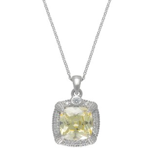 SIRI USA Sterling Silver Canary Yellow and White Cubic Zirconia Pendant
