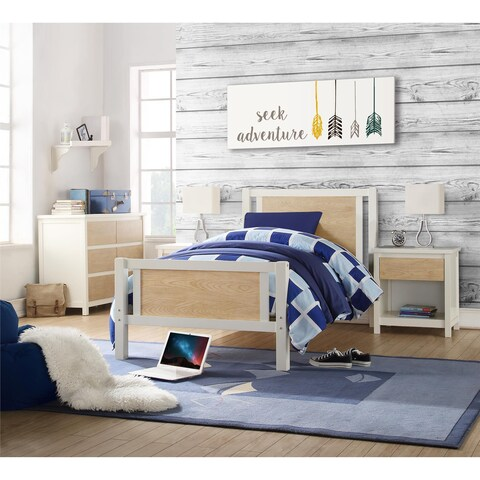 Dorel Living Blaine White/ Natural Twin Bed