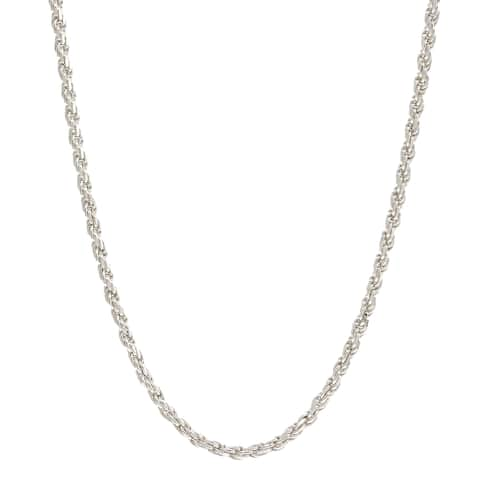 Pori Italian Sterling Silver 1mm Rope Chain Necklace - White