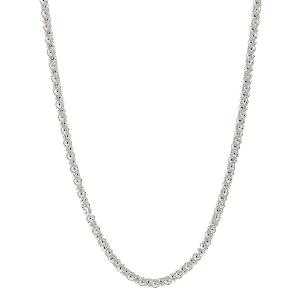 925 Sterling Silver 14k Rose Gold Flat Mirror Coffee-Link Italian Chain Necklace