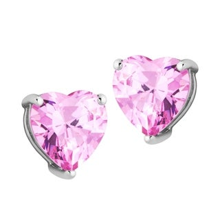 Sterling Silver Pink Cubic Zirconia Heart Earrings
