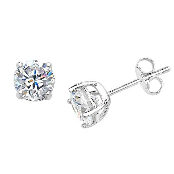 STERLING SILVER STUD CZ EARRINGS HEAVY CAST 6MM ROUND WHITE CUBIC ZIRCONIA CLAW