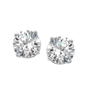 Sterling Silver 8 mm Cubic Zirconia Stud Earrings