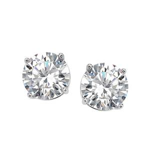 Sterling Silver 8 mm Cubic Zirconia Stud Earrings