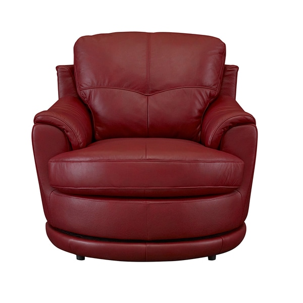 Somette Dorena Red Leather Swivel Chair - Free Shipping ...