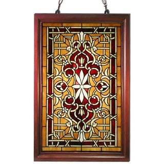 wood frame stained glass window panel