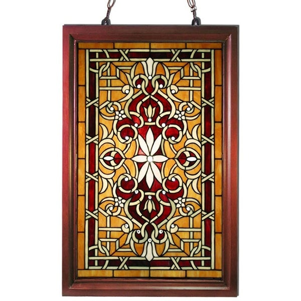 Shop Tiffany Style Wood Frame Stained Glass Window Panel On Sale
