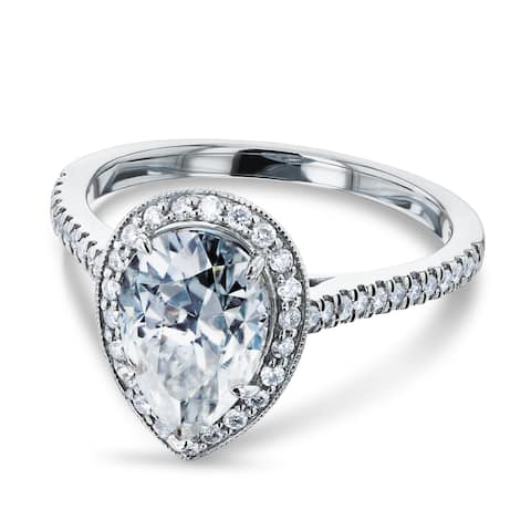 Annello by Kobelli 14k White Gold 2 1/2ct TGW Pear Moissanite (FG) and Round Diamond (GH) Halo Engagement Ring