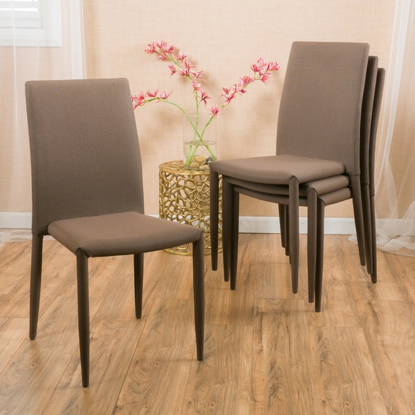 christopher knight home comstock fabric stackable dining chair set of 4 - Dining Chairs Set Of 4