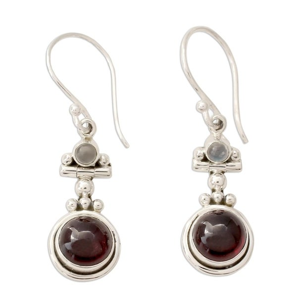 Handmade Sterling Silver 'Misty Moon' Garnet Moonstone Earrings (India) - Red
