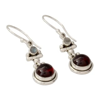 Sterling Silver 'Misty Moon' Garnet Moonstone Earrings (India)