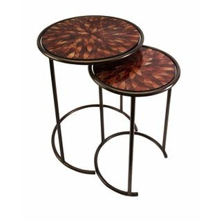 Mashaka Handcrafted Mosaic Glass Tables (Set of 2)