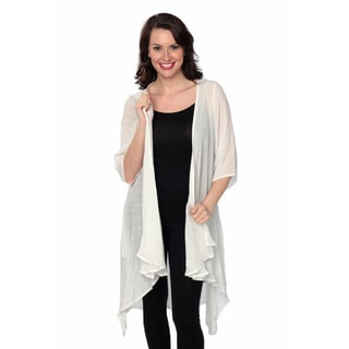 Nancy Yang Linen-blend Open-front Cardigan