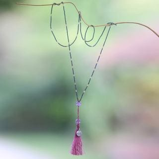 Sterling Silver 'Love Message' Amethyst Necklace (Indonesia)