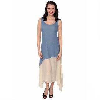 Nancy Yang Women's Linen-Blend Layered Tunic Sidetail Dress