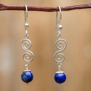Sterling Silver 'Spiraling Earth' Lapis Lazuli Earrings (Peru)
