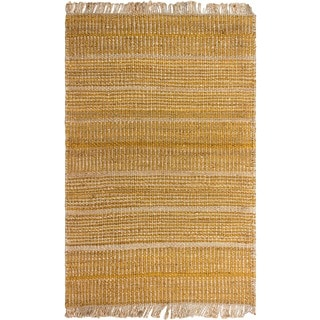 Fab Habitat Indo Glacier Hand-woven Gold Natural Jute Area Rug