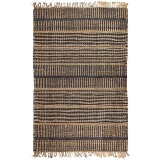 Fab Habitat Indo Glacier Hand-woven Charcoal Natural Jute Area Rug