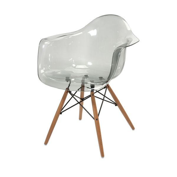 Exceptionnel Beckett Grey Transparent Chair With Wood Leg