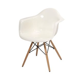 Arturo White Acrylic Chair with Wood Leg