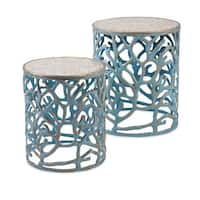 Coral Mother of Pearl Tables (Set of 2)