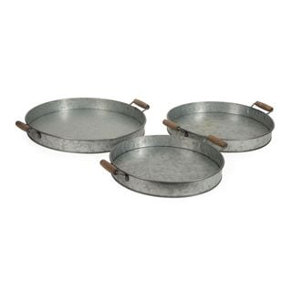 Galvanized Round Trays (Set of 3)