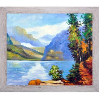 Edward Potthast 'Lake Louise, British Columbia' Hand Painted Framed Canvas Art