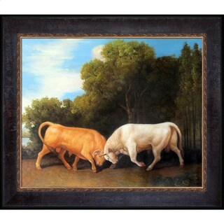 George Stubbs 'Bulls Fighting' Hand Painted Framed Canvas Art