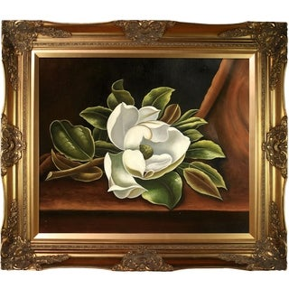 Martin Johnson Heade 'The Magnolia Blossom, 1888' Hand Painted Framed Canvas Art