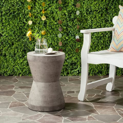 "Safavieh Torre Concrete Indoor/ Outdoor Accent Table (Dark Grey) - 12.2"" x 12.2"" x 17.3"""