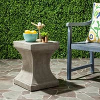 "Safavieh Curby Concrete Indoor/ Outdoor Accent Table (Dark Grey) - 13.7"" x 13.7"" x 17.7"""