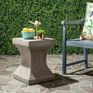 "Safavieh Curby Concrete Indoor/ Outdoor Accent Table (Dark Grey) - 13.7"" x 13.7"" x 17.7"""