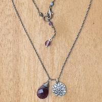 Handmade Sterling Silver 'Inspiring Lotus' Amethyst Necklace (Indonesia)