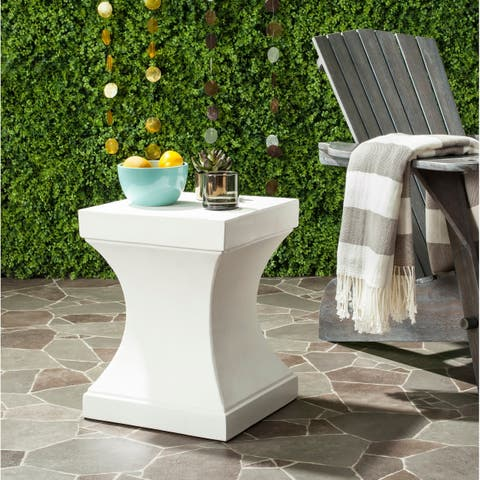 "Safavieh Curby Concrete Indoor/ Outdoor Accent Table (Ivory) - 13.7"" x 13.7"" x 17.7"""