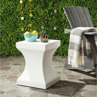"""Safavieh Curby Concrete Indoor/ Outdoor Accent Table (Ivory) - 13.7"""" x 13.7"""" x 17.7"""""""