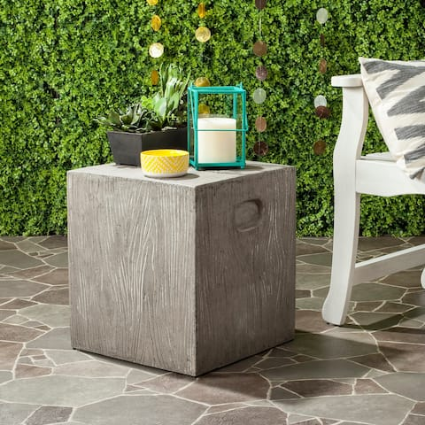 "Safavieh Cube Concrete Indoor/ Outdoor Accent Table (Dark Grey) - 14.9"" x 14.9"" x 16.5"""