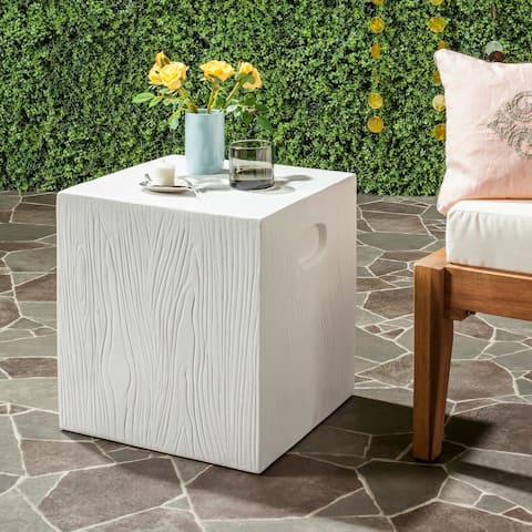 """Safavieh Cube Concrete Indoor/ Outdoor Accent Table (Ivory) - 14.9"""" x 14.9"""" x 16.5"""""""