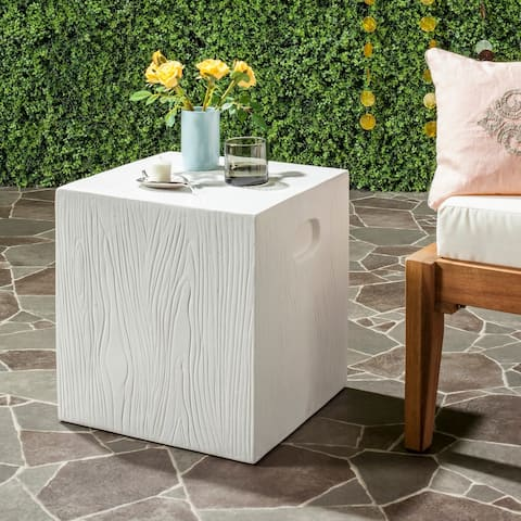 """SAFAVIEH Cube Concrete Ivory Indoor/ Outdoor Accent Table - 14.9""""x14.9""""x16.5"""""""