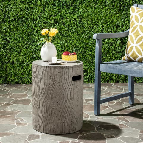 "Safavieh Trunk Concrete Indoor/ Outdoor Accent Table (Dark Grey) - 14.9"" x 14.9"" x 16.5"""