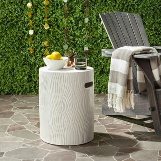"Safavieh Trunk Concrete Indoor/ Outdoor Accent Table (Ivory) - 14.9"" x 14.9"" x 16.5"""