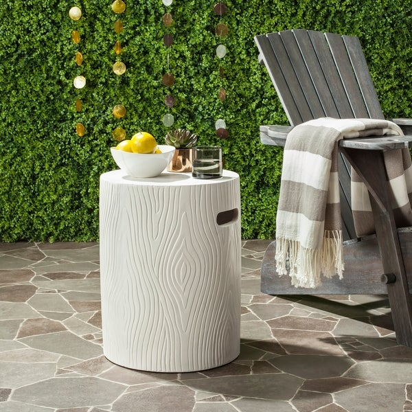 """Safavieh Trunk Concrete Indoor/ Outdoor Accent Table (Ivory) - 14.9"""" x 14.9"""" x 16.5"""". Opens flyout."""