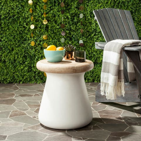 """Safavieh Button Concrete Indoor/ Outdoor Accent Table (Ivory) - 16.5"""" x 16.5"""" x 18.1"""""""